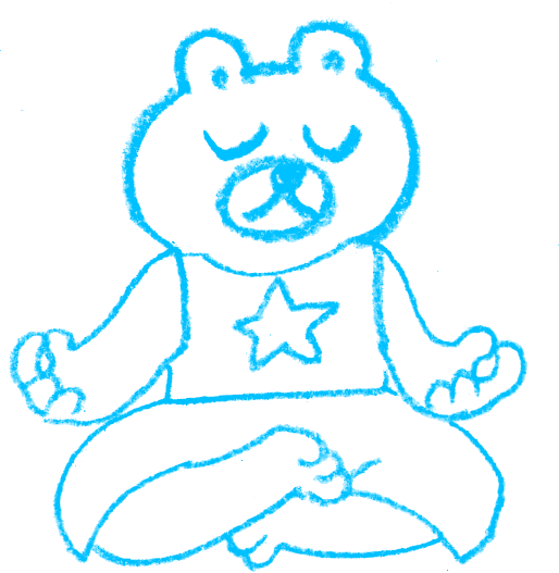 A sketch of a bear wearing a shirt with a star on it, sitting and meditating