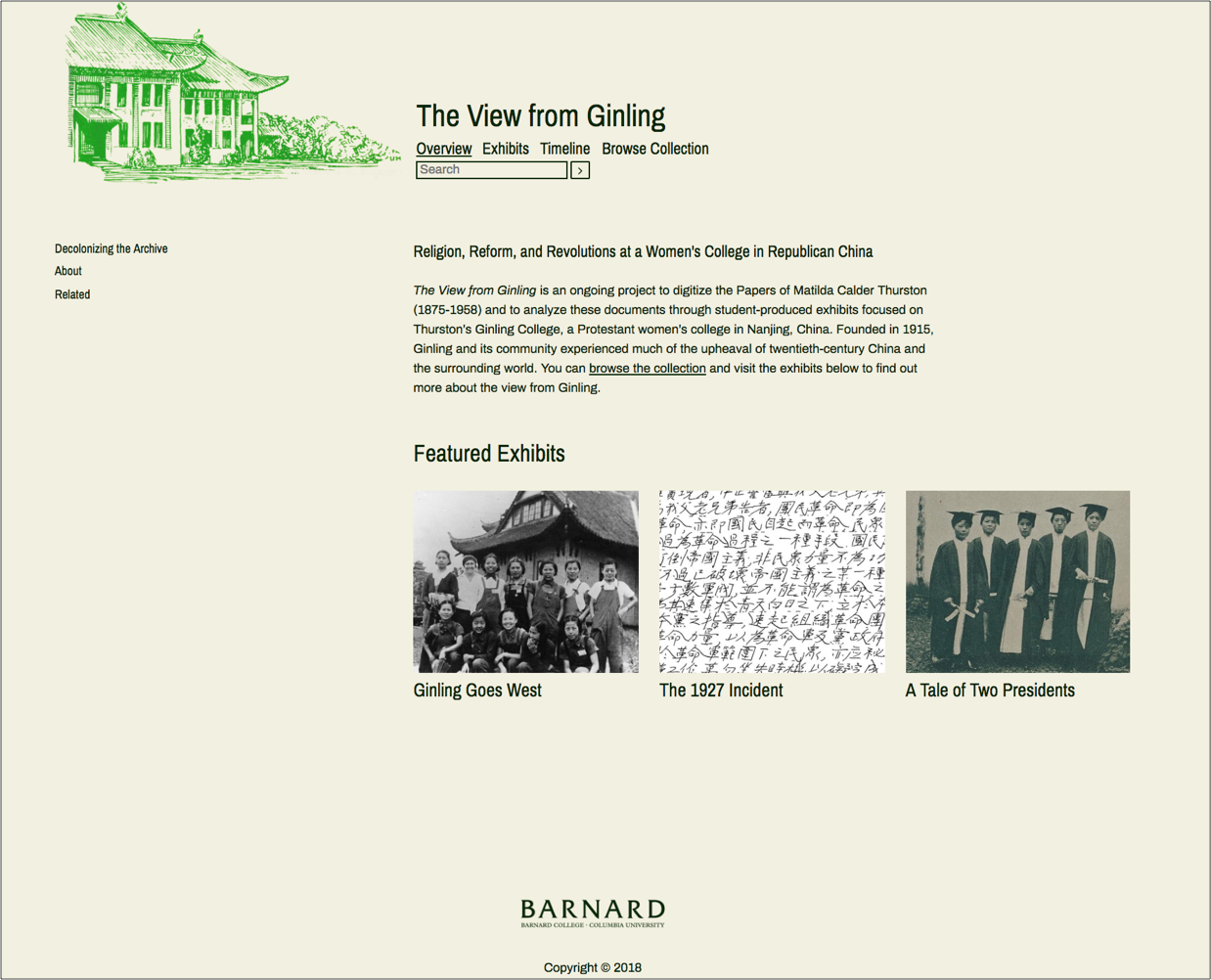 Omeka website showing digital exhibits related to Ginling