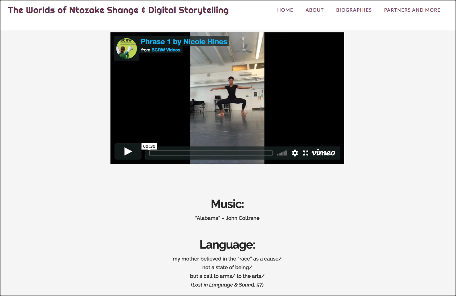 student-made video on Worlds of Shange website