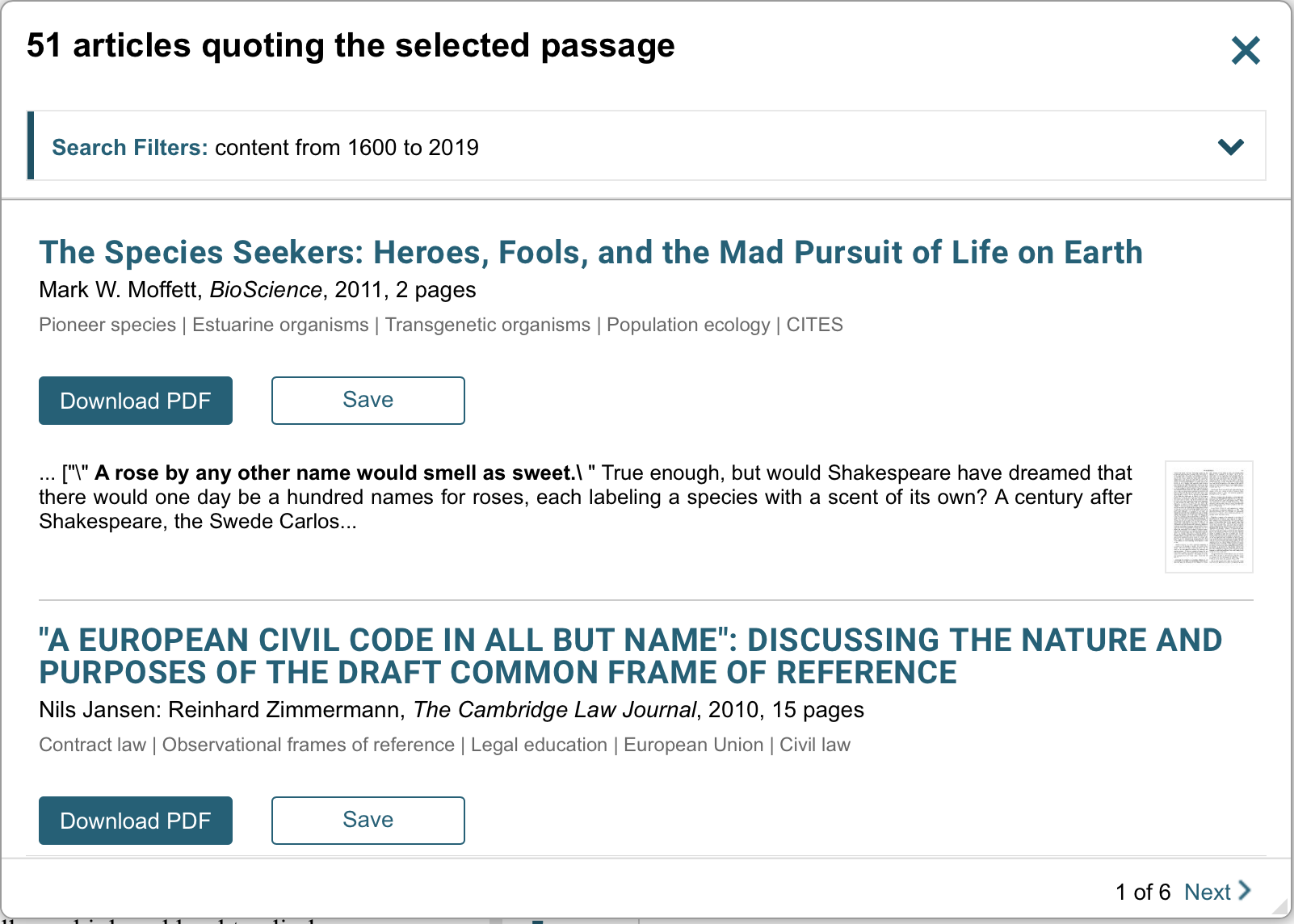 "Screencap of a dialogue box saying ""51 articles quoting the selected passage"" and two of those articles -- from a biology journal and a law journal"